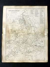 Cornwell & Dower 1849 Antique Map. England and Wales